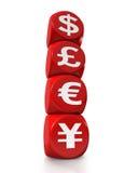Quatre symboles monétaires principaux du monde Photo libre de droits