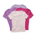 Quatre T-shirts d'isolement Image libre de droits