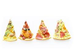 Quatre tranches différentes de pizza sur un fond blanc et d'espace pour le texte Image libre de droits