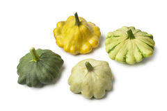Quatre types de courge de Pattypan Photos libres de droits