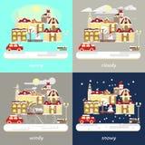 Quatre types de temps différent d'hiver Image libre de droits