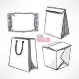 Quatre types différents d'emballage illustration libre de droits