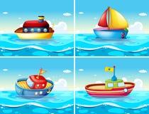 Quatre types différents de bateaux flottant sur la mer illustration libre de droits
