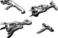 Quatre types différents de tire-bouchons illustration de vecteur