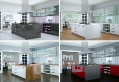 Quatre variations de couleur de cuisine moderne avec une belle conception Image libre de droits