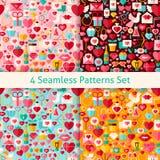 Quatre vecteur Valentine Day Seamless Patterns Set plat illustration libre de droits