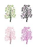 Quatre versions d'arbre fleurissant Images libres de droits