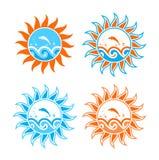 Quatre versions des ondes et des poissons en soleil Image libre de droits