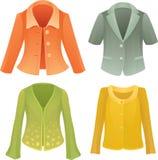 Quatre vestes colorées de vecteur Photos stock