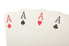 Quatre vieilles cartes se ferment vers le haut Image libre de droits