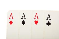 Quatre vieilles cartes se ferment vers le haut Images libres de droits