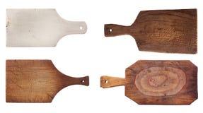 Quatre vieux panneaux de hachage utilisés de cuisine images libres de droits