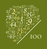 Quatre-vingt-dix-neuf numéros plus de cent Image libre de droits