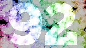 Quatre-vingt-dix un à quatre-vingt-douze ans d'anniversaire se fanent l'animation d'in/out avec le fond en mouvement de bokeh de  illustration stock