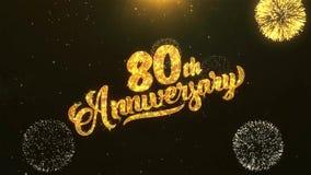 quatre-vingtième célébration heureuse d'anniversaire, souhaits, saluant le texte sur le feu d'artifice d'or illustration stock