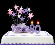 quatre-vingtième gâteau Photographie stock