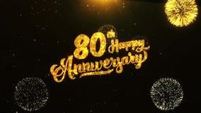 quatre-vingtième salutation heureuse des textes d'anniversaire, souhaits, célébration, fond d'invitation illustration libre de droits