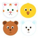 Quatre visages animaux Images libres de droits