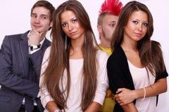 Quatre visages d'amis Photos libres de droits
