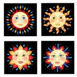 Quatre visages de Sun Image stock