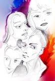 Quatre visages des personnes - croquis coloré Photographie stock