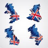 Quatre vues 3d britanniques Photographie stock