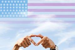 Quatrième américain d'amour de drapeau national de juillet Image libre de droits