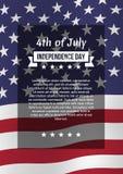 Quatrième d'affiche de juillet Photographie stock libre de droits