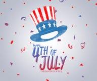 Quatrième d'illustration de calibre de conception de vente de Jour de la Déclaration d'Indépendance de juillet Etats-Unis Photos libres de droits