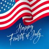 Quatrième de bannière de célébration de juillet, saluant le design de carte Jour de la Déclaration d'Indépendance heureux de main illustration libre de droits
