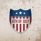 Quatrième de bannière de salutation de juillet Etats-Unis illustration stock