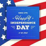 Quatrième de carte de vente de juillet Bannière heureuse de Jour de la Déclaration d'Indépendance sur le drapeau américain Photographie stock