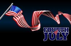 Quatrième de conception de drapeau américain de Jour de la Déclaration d'Indépendance de juillet Images libres de droits