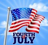 Quatrième de conception de drapeau de Jour de la Déclaration d'Indépendance de juillet illustration stock