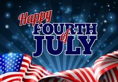 Quatrième de fond de drapeau américain de juillet illustration de vecteur