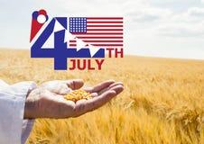 Quatrième de graphique de juillet avec des drapeaux et de crème glacée contre le champ de maïs et de main tenant le maïs Images libres de droits