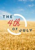 Quatrième de graphique de juillet contre le grainfield Images stock