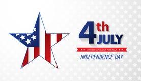 Quatrième de Jour de la Déclaration d'Indépendance de juillet abrégez le fond Vecteur illustration de vecteur
