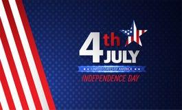 Quatrième de Jour de la Déclaration d'Indépendance de juillet abrégez le fond Vecteur illustration libre de droits