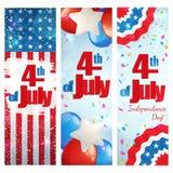 Quatrième de juillet, bannière de verticale de Jour de la Déclaration d'Indépendance illustration de vecteur