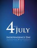 Quatrième de juillet - bannière ou affiche des Etats-Unis de Jour de la Déclaration d'Indépendance illustration stock