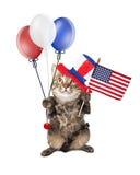 Quatrième de juillet Cat With Balloons et drapeau Photo stock
