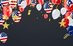 Quatrième de juillet, salutation de Jour de la Déclaration d'Indépendance des Etats-Unis Vecteur illustration de vecteur
