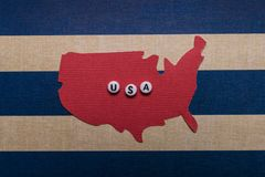 Quatrième de l'affiche Etats-Unis de vacances de carte d'art de papier du 4 juillet Photos libres de droits