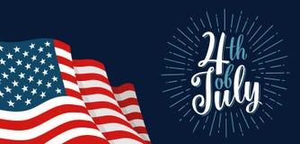 Quatrième de l'inscription de lettrage de main de juillet avec le feu d'artifice Fond de grunge de l'indépendance Day illustration de vecteur
