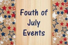 Quatrième de message d'événements de juillet Photo stock