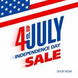 Quatrième de vente de Jour de la Déclaration d'Indépendance de juillet Etats-Unis Photos libres de droits