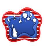 Quatrième du Jour de la Déclaration d'Indépendance de juillet des Etats-Unis, statue de la liberté, ballons, confettis Coupez le  Images stock