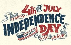 Quatrième heureux de carte de voeux de lettrage de main de juillet illustration libre de droits