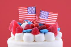 Quatrième heureux de gâteau de célébration de juillet Photos libres de droits
